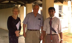 David Weatherall, centre, with Nancy Olivieri, left, with whom he co-founded Hemoglobal, and Mahinda Arambepola, a consultant paediatrician, in Sri Lanka, where Weatherall worked to support patients with thalassaemia.
