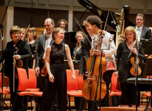 Conductor Mirga Gražinytė-Tyla and cellist Sheku Kanneh-Mason with the CBSO at Symphony Hall, Birmingham.