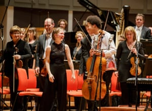 Mirga with the cellist Sheku Kanneh-Mason and the CBSO at Symphony Hall, Birmingham, in November 2017.
