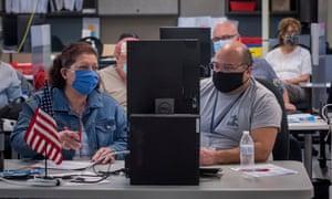 Adjudicators continue to check ballots at the Maricopa County Recorder's Office Phoenix, Arizona.