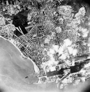 Aerial reconnaissance photograph taken after Operation Chariot – the raid on St Nazaire in March 1942.