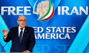 Rudy Giuliani, Donald Trump's personal lawyer, addresses the MeK rally in Paris.