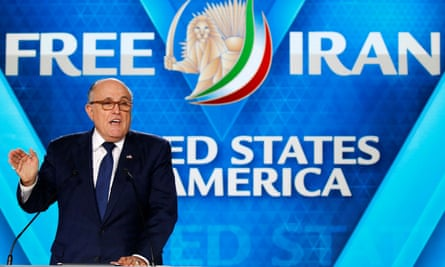 Rudy Giuliani addresses an NCRI meeting near Paris in June.
