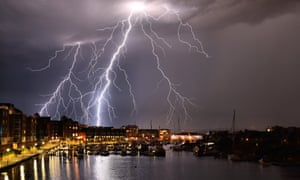 Spectacular lightning strikes over Eastbourne, East Sussex, Tuesday evening.