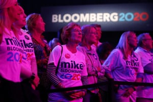 Supporters of Mike Bloomberg attend his Super Tuesday night event in West Palm Beach, Florida, on 3 March.