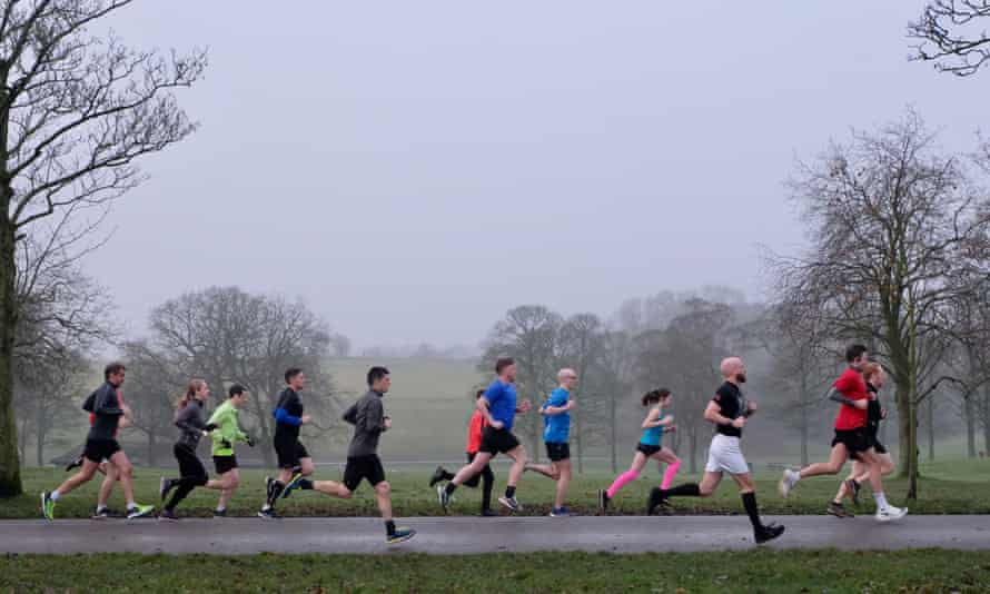 People taking part in Roundhay parkrun in Leeds in December last year.