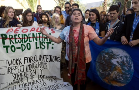 US students protest outside the UN climate summit in Marrakech in reaction to Donald Trump's election victory, 9 November