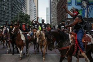 Protesters on horseback