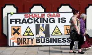 An anti-fracking banner outside Lancashire County Hall in Preston