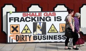 Anti-fracking banner outside Lancashire County Hall in Preston, Lancashire.