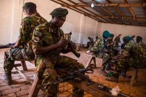 Rangers practise taking apart and reassembling their rifles during a training session.