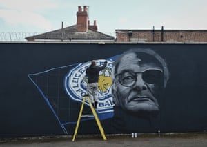 A portrait of Claudio Ranieri is painted on a wall in the city