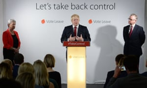 Vote Leave campaigners Gisela Stuart, Boris Johnson, and Michael Gove hold a press conference at Vote Leave headquarters in London.