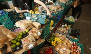 The Real Junk Food Project's food rescue warehouse where supermarkets, shops and retailers donate food that is past its sell-by date