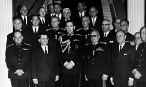 The Government Of Greek Colonels: left to right, Colonel George Papadopoulos, Vice-Prime Minister, Christos Kollias Prime Minister, King Constantin II, Gregorios Spendidakis Minister of National Defence and on the far right, the Minister Of Coordination, Colonel Makanezos, April 26th 1967.