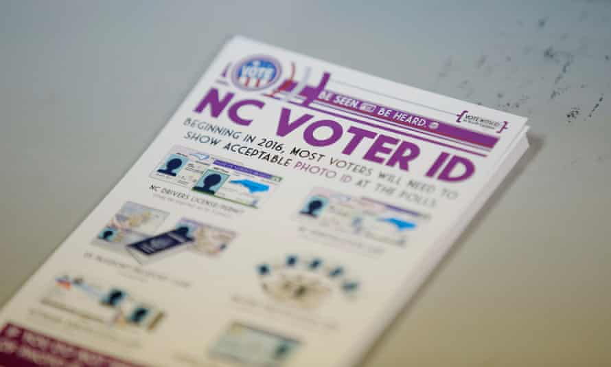 A pile of government pamphlets explaining North Carolina's controversial voter ID law.