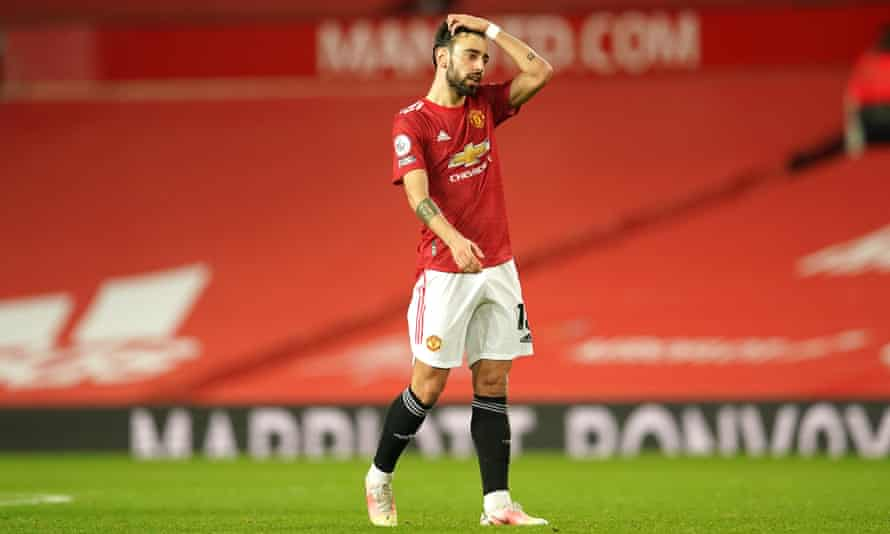 Bruno Fernandes with a sea of red in the background at Old Trafford during the game against West Ham last month.
