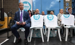 Nigel Farage at the launch of the Brexit party's European parliamentary election campaign, Coventry, April 2019