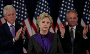 Hillary Clinton addresses her staff and supporters after losing the presidential election.