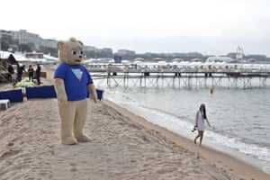 Brigsby Bear at the photo call for the film at the Plage Royale in Cannes