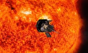 an artists rendering of the parker solar probe in operation around the sun