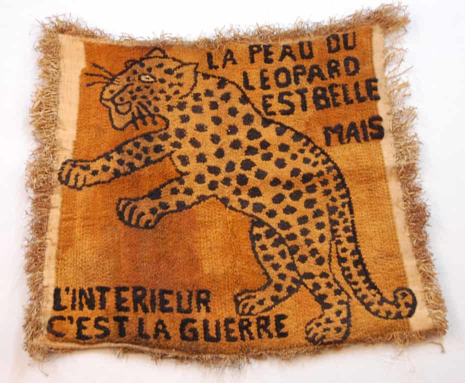 A raffia cloth with image of a leaping leopard, Democratic Republic of Congo.
