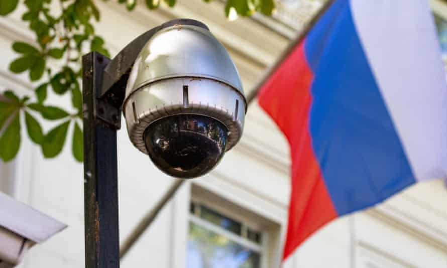 A security camera outside the Russian embassy in London.