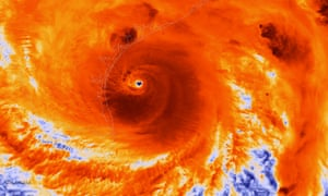 Infrared images like this one can help meteorologists identify the areas of the greatest intensity within large storm systems, such as the areas with the most intense convection, known as overshooting cloud tops (dark orange), surrounding the eye and along the outer bands.
