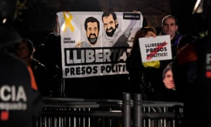 Protestors demonstrate for release of Catalan leaders
