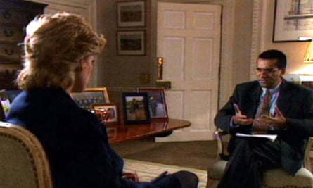 Screenshot over Diana's shoulder of Martin Bashir, seated, asking her questions