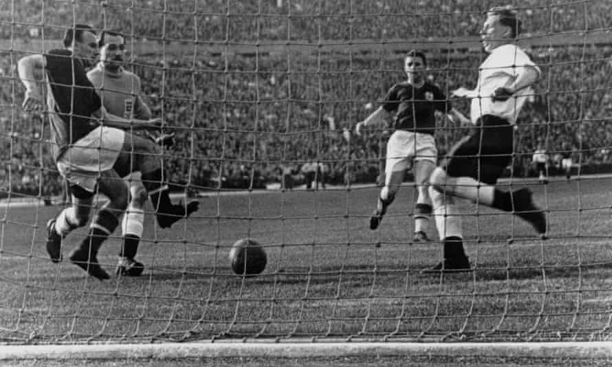 Ferenc Puskas scores Hungary's second goal in their 7-1 win against England in Budapest in 1954