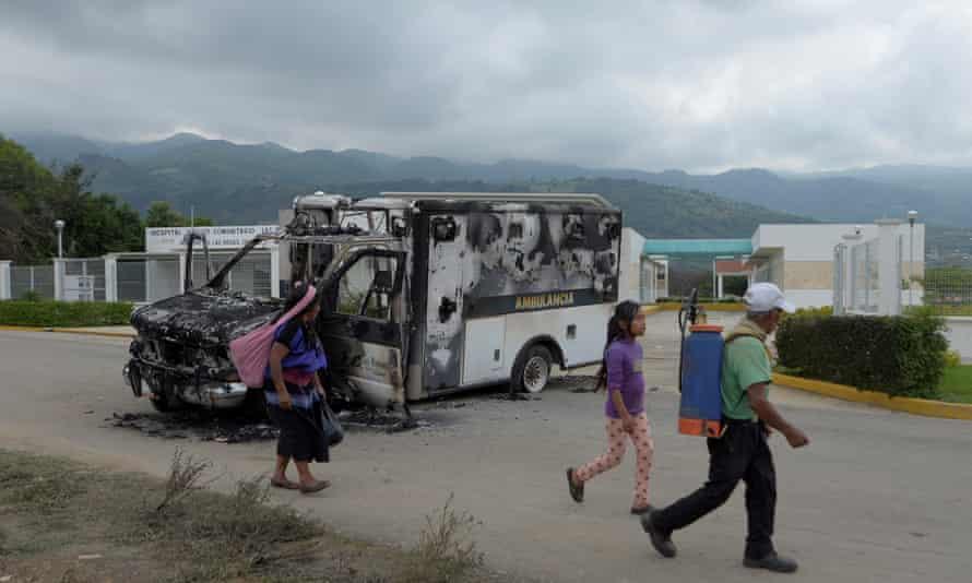 On June 11, 2020, a burnout ambulance crashed near a hospital in Villa de las Rosas, Mexico.