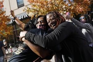 People celebrate in Philadelphia on 7 November.