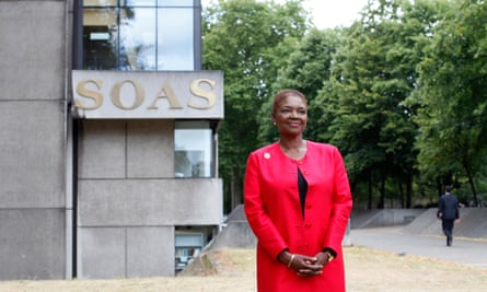 Valerie Amos in front of Soas sign