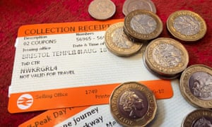 Rail tickets and coins
