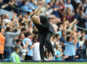 Manchester City manager Pep Guardiola can hardly contain his excitement after Raheem Sterling scored against West Ham