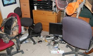 An office area left in disarray by occupiers.