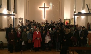 Muslims celebrate midnight mass with Christians at St Alban's church in north London last Christmas Eve.