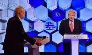 Jeremy Corbyn and Boris Johnson in the BBC's prime ministerial debate, 6 December 2019