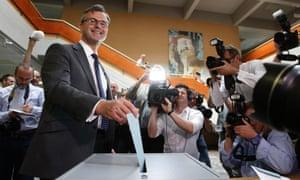 Norbert Hofer votes in Pinkafeld, Austria.