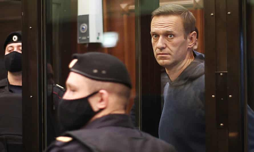 Alexei Navalny appears at Moscow city court on Tuesday.