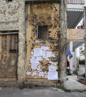 'Bandages' made by Halsøy for damaged buildings in Beirut.