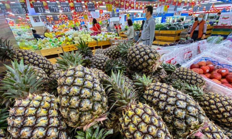 Pineapples on sale at a grocery store in Taipei, Taiwan