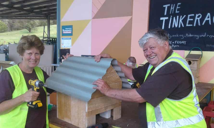 Sharyn Baraldi and Ross Scholz working on a project at The Tinkerage in Shellharbour.
