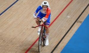 France's Alexandre Leaute celebrates winning gold in the Men's C2 3000 metre Individual Pursuit.