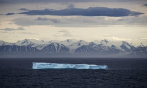 An Iceberg in the Canadian Arctic Archipelago in July 2017. Sea ice in the Arctic reached a record low this year.