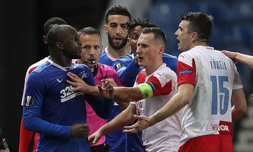 Rangers' Glen Kamara clashes with Ondrej Kudela of Slavia Praha during last month's Europa League game at Ibrox.