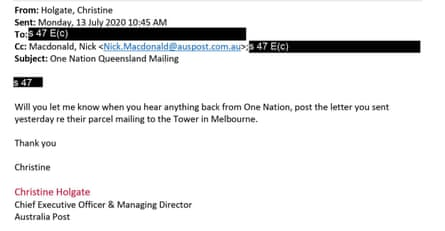 Email from Christine Holgate to Australia Post staff member regarding One Nation issue