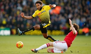 Daley Blind challenges Watford's Ikechi Anya.