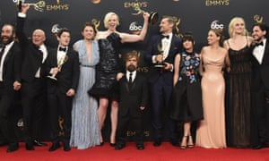 Game of Thrones cast members at the Emmys. From left: Rory McCann, Conleth Hill, Iwan Rheon, Hannah Murray, Gwendoline Christie, Peter Dinklage, Nikolaj Coster-Waldau, Maisie Williams, Emilia Clarke, Sophie Turner and Kit Harington,